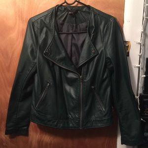 Emerald Green Faux Leather Moto Jacket